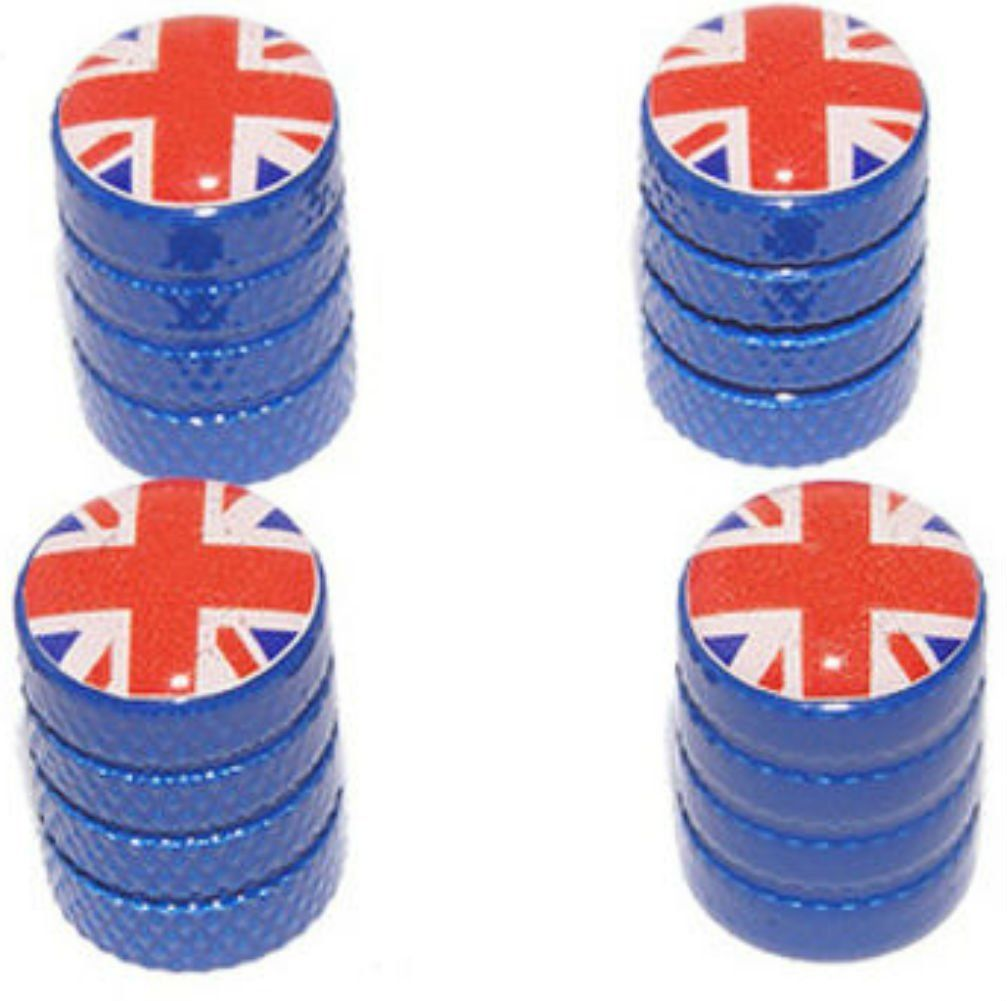 """Amazon.com : (4 Count) Cool and Custom """"Diamond Etching Union Jack Flag Top with Easy Grip Texture"""" Tire Wheel Rim Air Valve Stem Dust Cap Seal Made of Genuine Anodized Aluminum Metal {Royal Bentley Blue and Red Colors - Hard Metal Internal Threads for Easy Application - Rust Proof - Fits For Most Cars, Trucks, SUV, RV, ATV, UTV, Motorcycle, Bicycles} : Sports & Outdoors"""