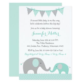 elephant baby shower invitations mint green & grey | baby shower, Baby shower invitations