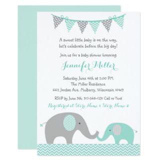 Elephant Baby Shower Invitations Mint Green Grey