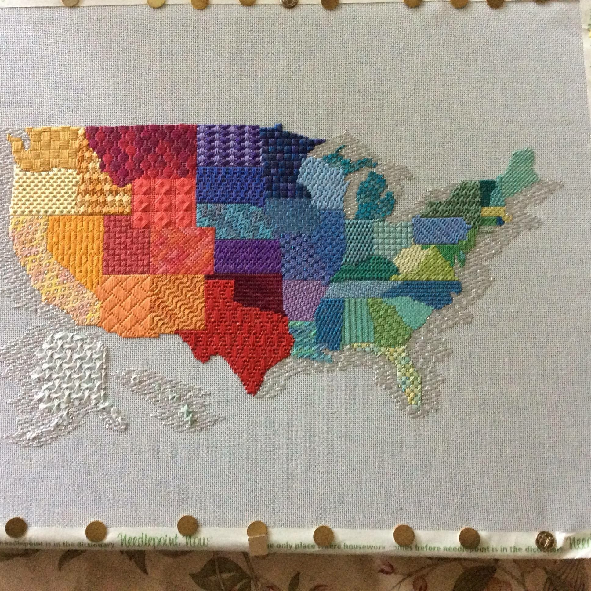 United States Map Needlepoint Possibly Gail Sirna Design Cross