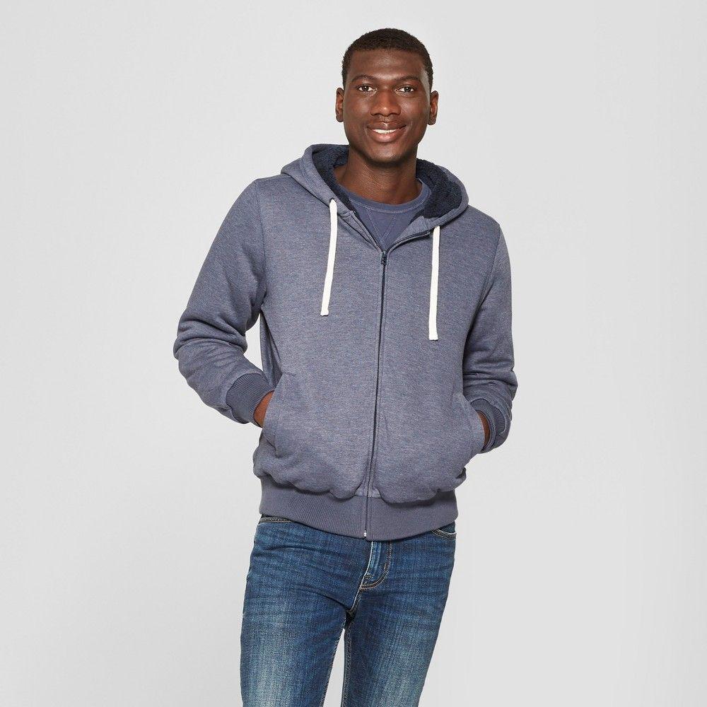 Valoda Men Cardigan Outerwear Full-Zip Solid Color Hoodie Thick Fleece Sweatshirt