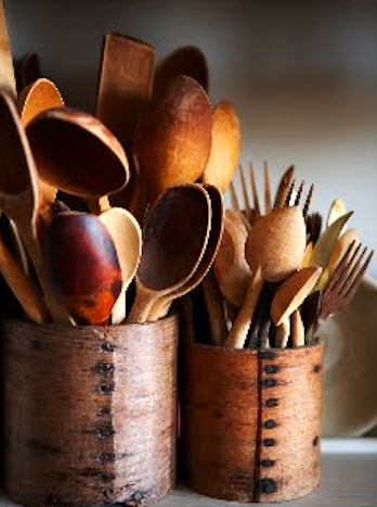 Seasoned wooden spoons add so much joy to cooking.  I couldn't cook without my wooden spoons, some of them belonged to my mom.