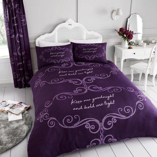 Good Night 144 Tc Percale Duvet Cover Set Happy Larry Size Super King 2 Standard Pillowcases Colour Purpl Duvet Cover Sets Complete Bedding Set Bed Sheets
