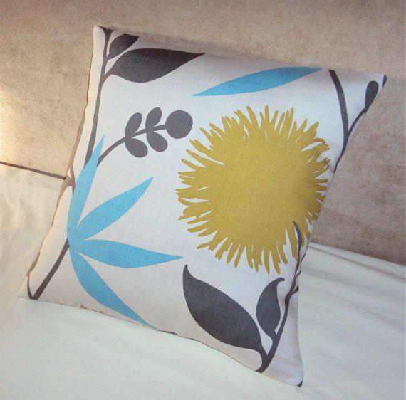 18 Inch Mod Designer Floral Fabric Pillow Cover  Citrine by idari, $23.00
