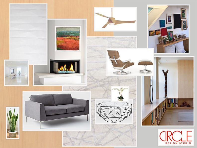 Clean Living Room 3D Tile Fireplace Eames Chair  Moodboards Entrancing Clean Living Room Inspiration Design