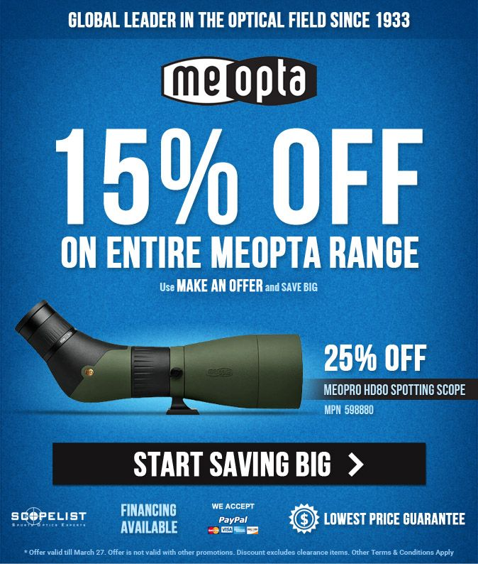 Meopta Sale, Meopta Meostar Riflescope, Meopta Meopro Riflescope, Meopta HD 80 Spotting Scope, Meopta Clearance Items, Scopelist March Specials, Meopta Binocular Deal, Meopta Special Deal