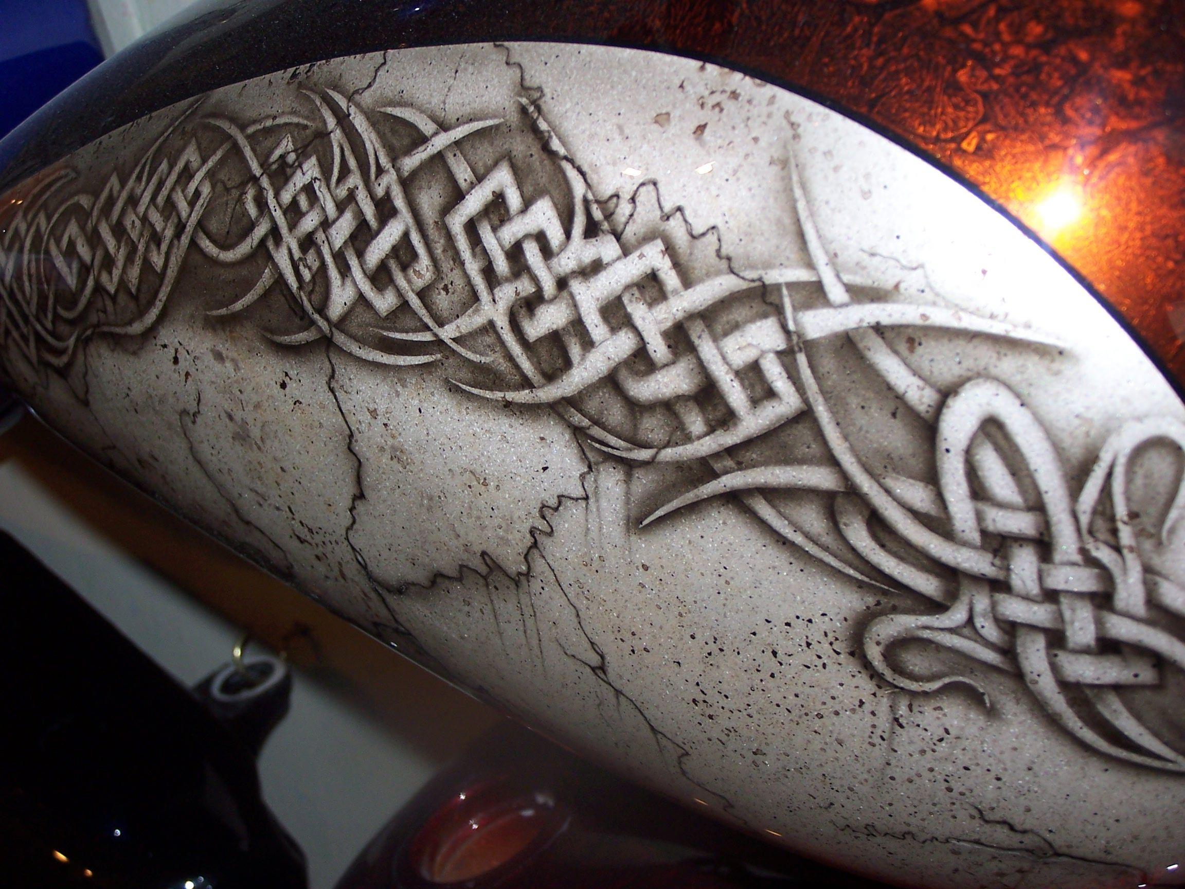 Motorcycle tattoo tribal custom airbrush painted tribal for Airbrush tattoo paint