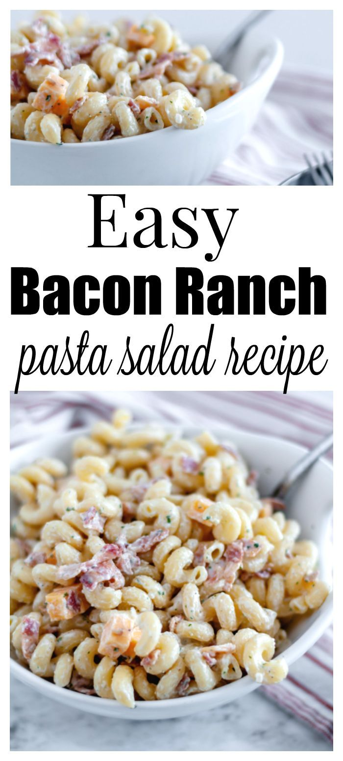 SO GOOD! Easy bacon ranch pasta salad recipe - add chicken, cheese, peas, whatev...  - Recipes to Cook -