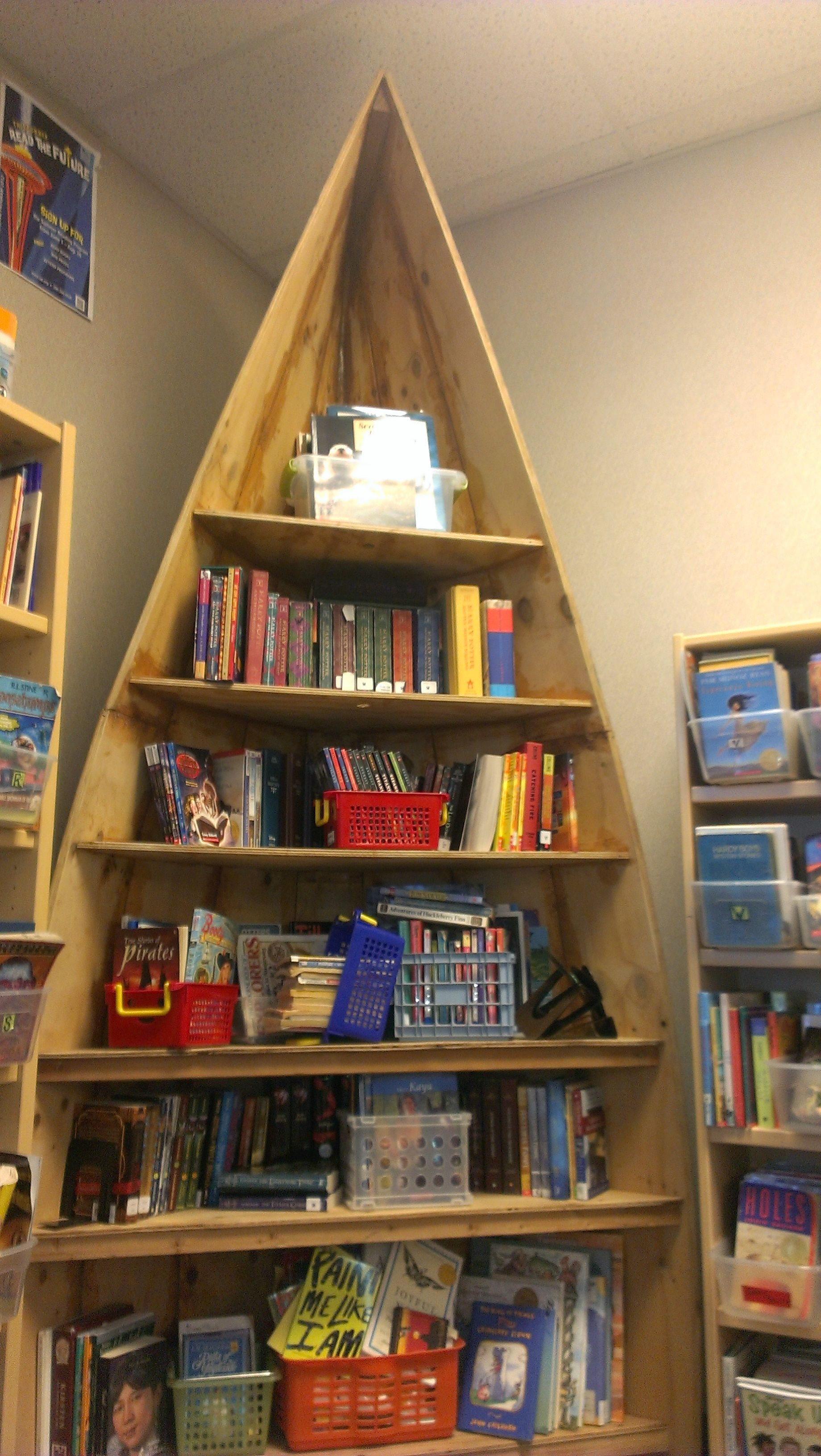 diy boat bookshelf in a classroom at pathfinder k 8 a seattle