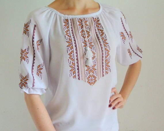 053e3e07680333 White boho tops for women Embroidered short sleeve chiffon blouse Peasant blouse  Bohemian clothing U