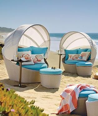 Poolside hammock the o 39 jays ottomans and canopies for Outdoor pool daybeds
