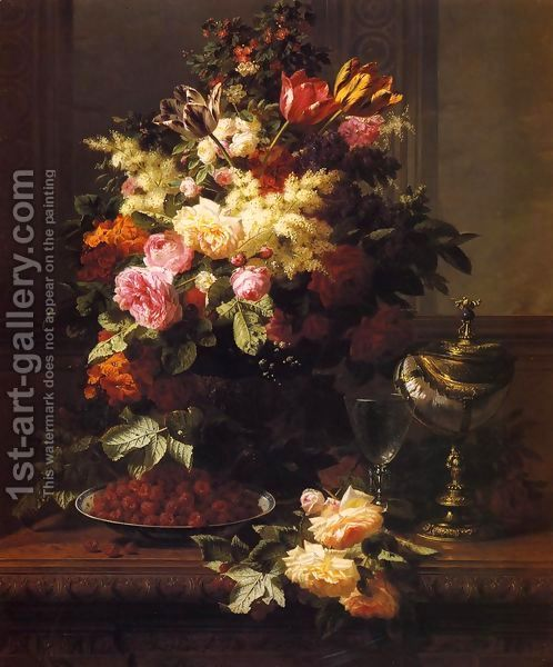 A Still Life Of Roses Tulips And Other Flowers On A German Compote A Plate Of Raspberries A Glass And A German Silver Gilt Nautilus Cup On A Table Buy Oil Paintings