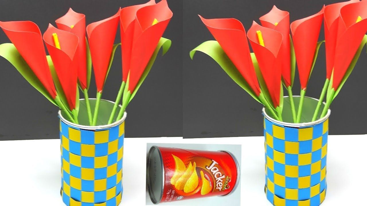 diy  awesome paper flower and flower vase with waste