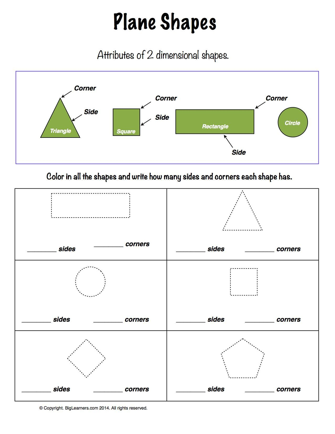 Worksheets Plane Shapes Worksheets worksheet plane shapes learn about the attributes of shapes