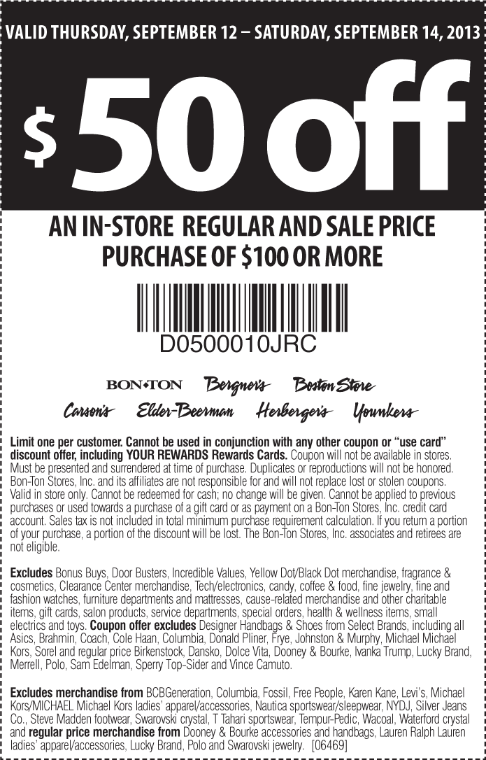 picture relating to Carsons in Store Coupons Printable identify Pinned September 12th: $50 off $100 at Bon #Great deal, Bergners