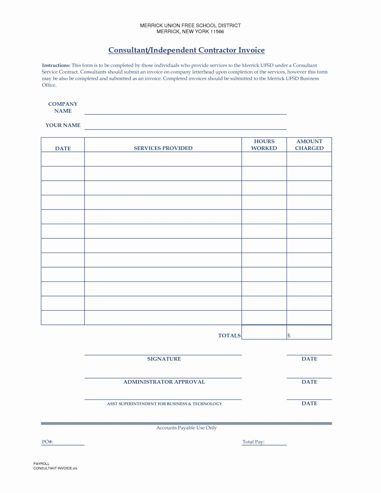 Independent Contractor Invoice Template Excel Lovely Independent Contractor Invoice Template Invoice Template Word Invoice Template Invoice Example