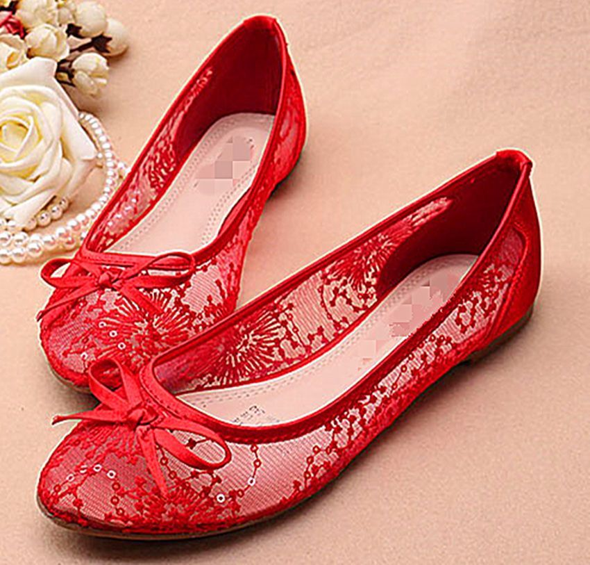 Details about White/red women silk satin lace mesh flat