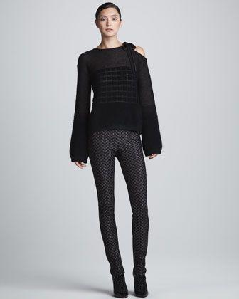 Missoni Cutout-Shoulder Geometric Knit Top & Metallic Skinny Side-Zip Pants
