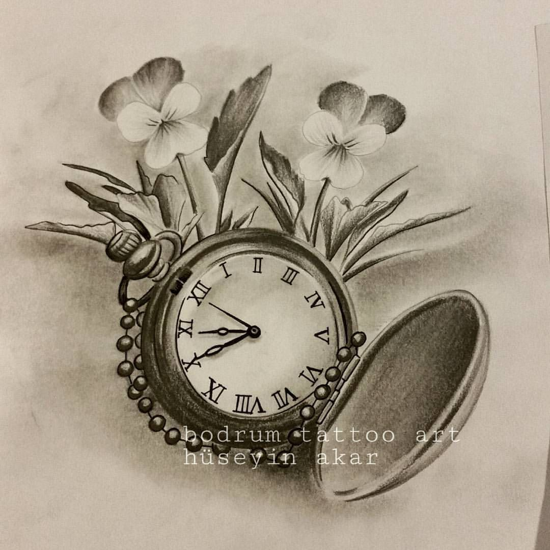 Rose Clock Tattoo Designs Drawing: Draw # Rose # Roses # Pen # Pencil # Tattoodesign # Tattoo