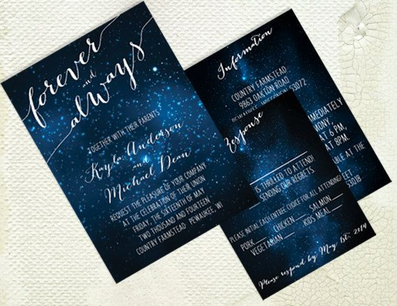Diy Printable Wedding Invitation Galaxy Stars Space Universe Dark Blue Shower Invitation