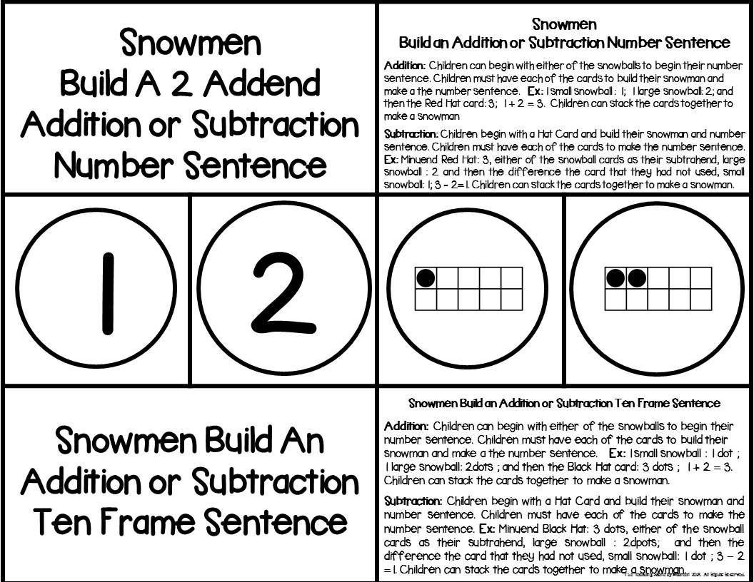 Snowmen 2 Addend Addition Amp Subtraction With Ten Frames