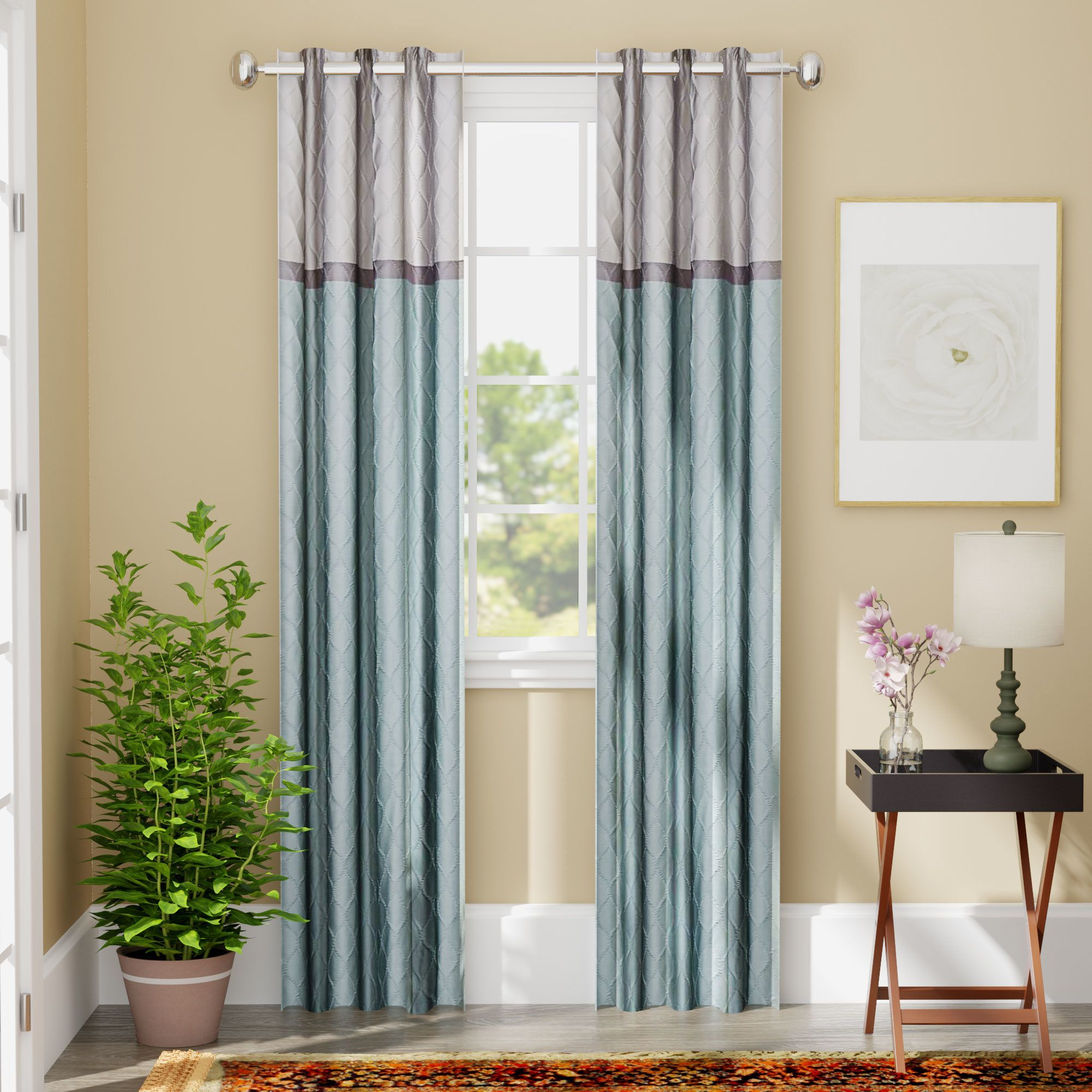 Rothsville Geometric Blackout Grommet Single Curtain Panel ...