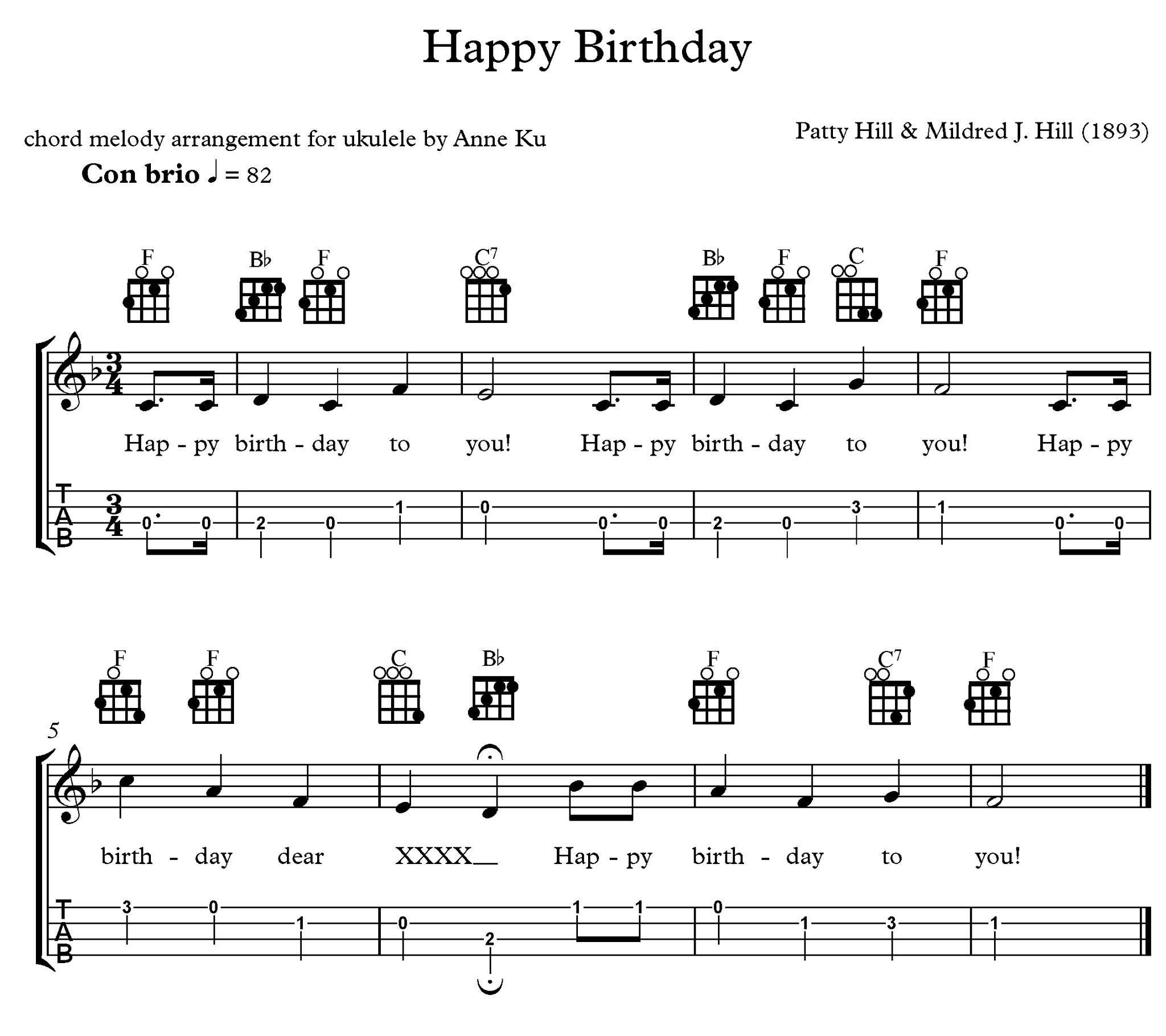 ukulele notes for happy birthday Google Search in 2020