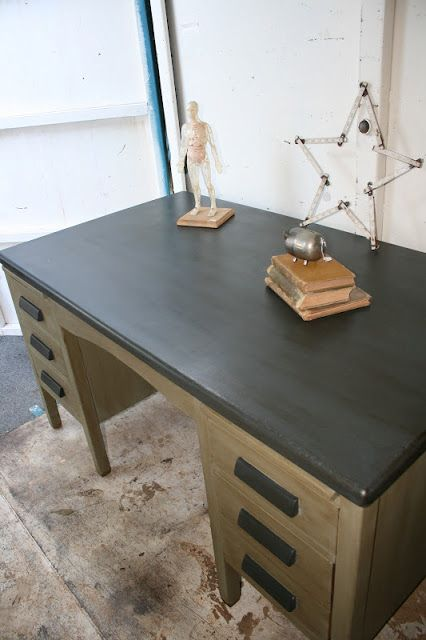 Reloved Rubbish: Vintage Teacher's Desk. I could totally do this to my new  old wooden teacher desk! - Reloved Rubbish: Vintage Teacher's Desk. I Could Totally Do This To