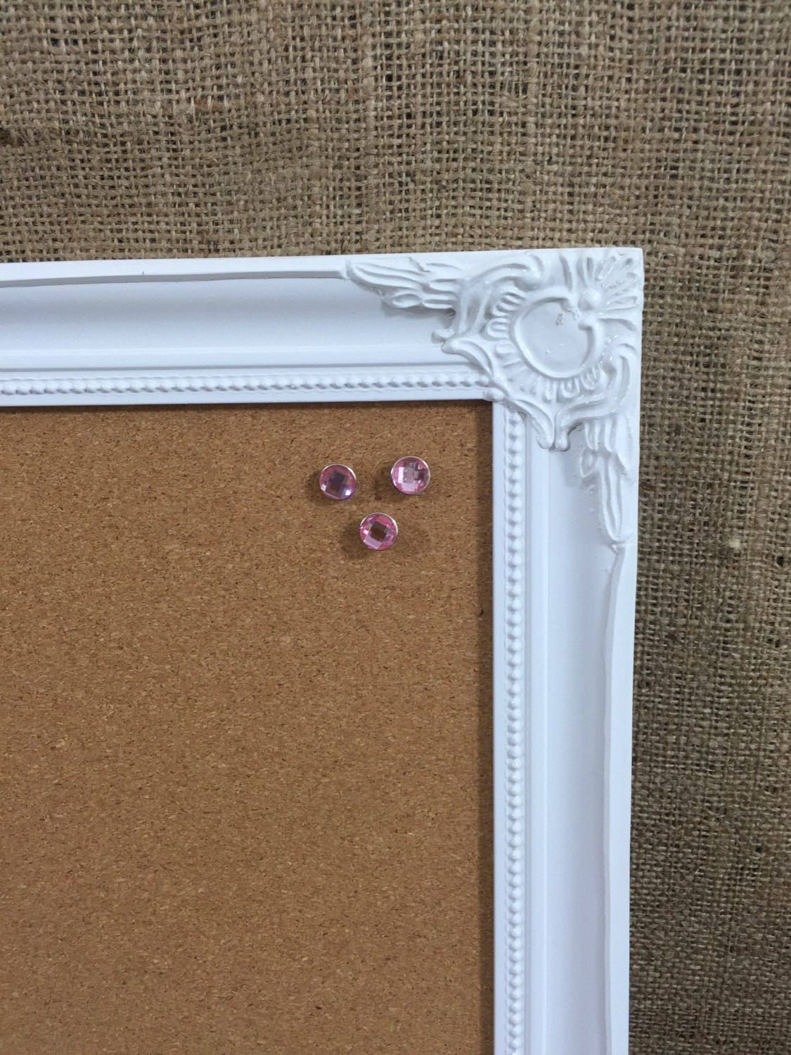 Framed Pin Board  White Framed Corkboard  White Ornate Framed
