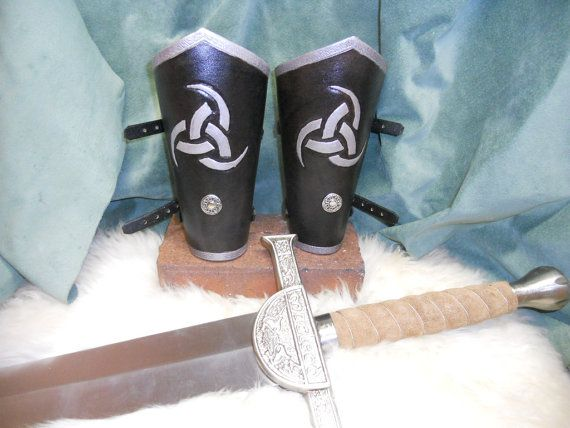 viking arm bracers, odins triple horn bracers, norseman bracers in silver, leather bracers, reniassance, medieval costume arm guards via Etsy