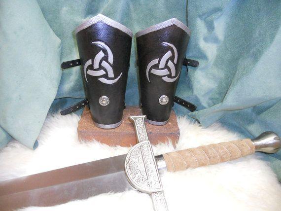 viking arm bracers, odins triple horn bracers, norseman bracers in silver, leather bracers, reniassance, medieval costume arm guards via Etsy