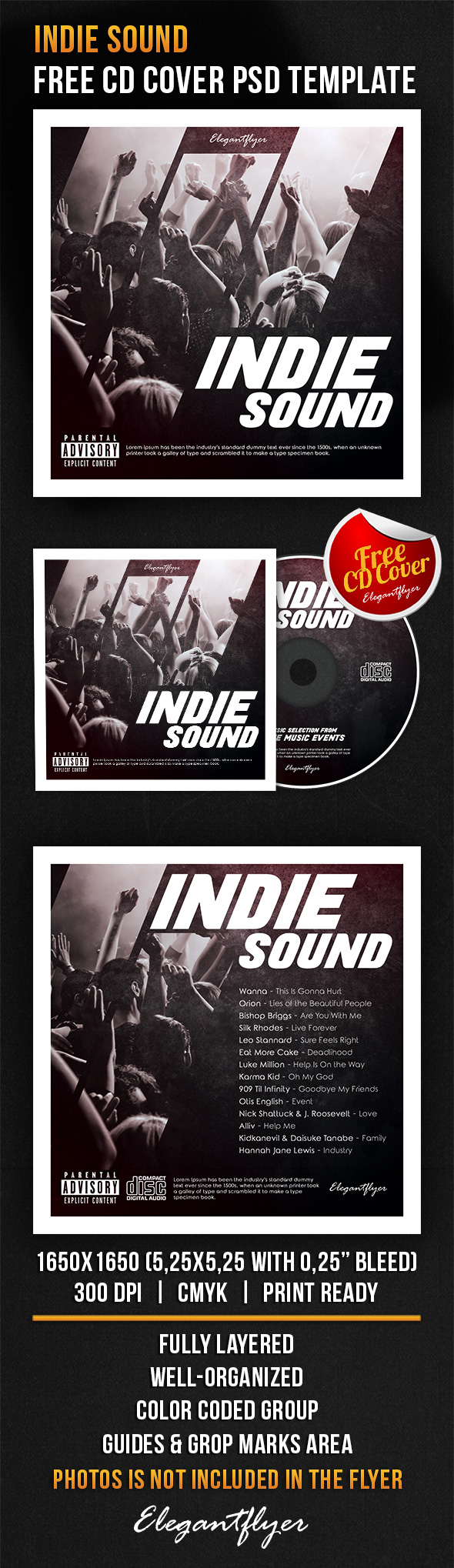 Indie Sound – Free CD Cover PSD Template | Free CD & DVD cover ...