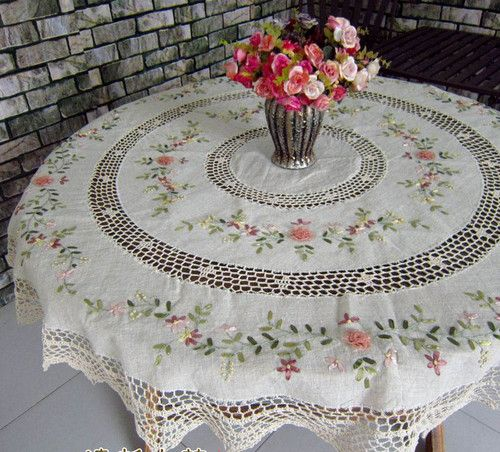 4 Size Choice French Country Crochet Silk Ribbon Embroidery Round Table  Cloth | EBay