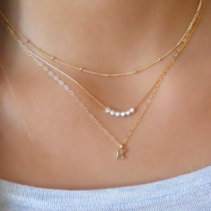 Triple Gold Personalized Initial Necklace Set – Set Of 3 (GS440) – Necklaces