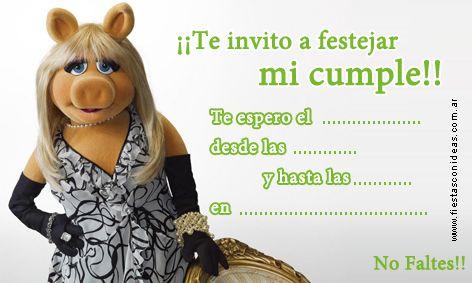 Tarjeta de cumpleaños de piggy-muppets