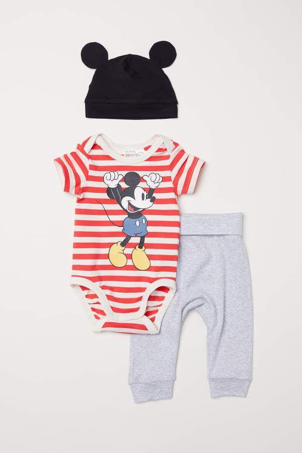 6ff37eedcfc7 Three-piece Cotton Set - Red/Mickey Mouse - Kids #jersey#cotton#organic