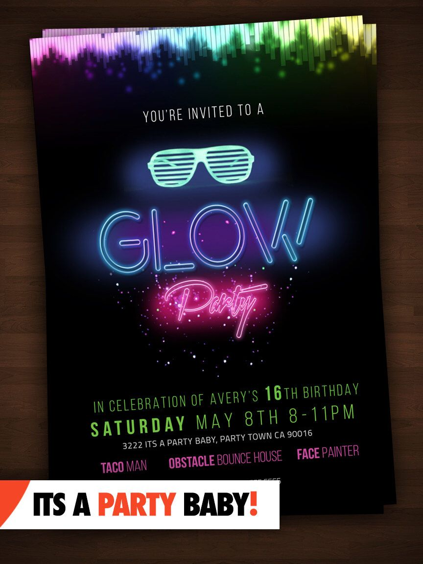 Glow Party Invitation - Personalized Glow Party Printable DIY ...