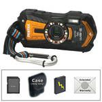 Pentax Optio WG-2 Digital Camera with GPS (Orange) with Deluxe Accessory Kit