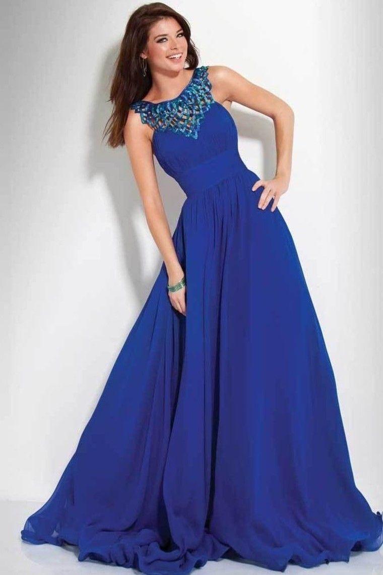 2014 Elegant Prom Dresses A Line Floor Length Dark Royal Blue Color ...