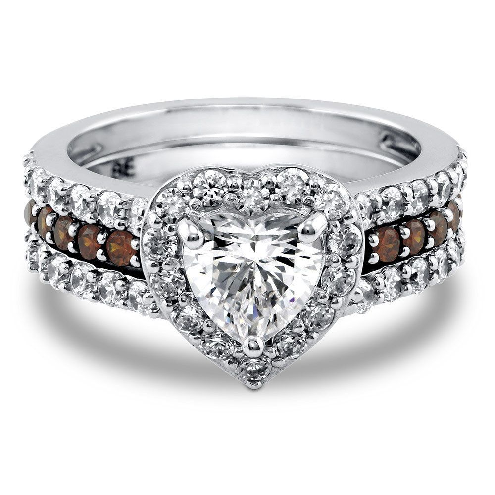 BERRICLE Sterling Silver Heart Shaped CZ Halo Engagement
