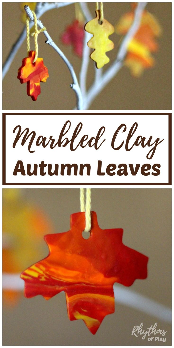beautiful Pinterest Fall Crafts For Adults Part - 18: DIY Marbled Clay Autumn Leaves Fall Leaf Craft | Fall Crafts For Kids |  Pinterest | Fall Crafts, Crafts and Fall crafts for kids