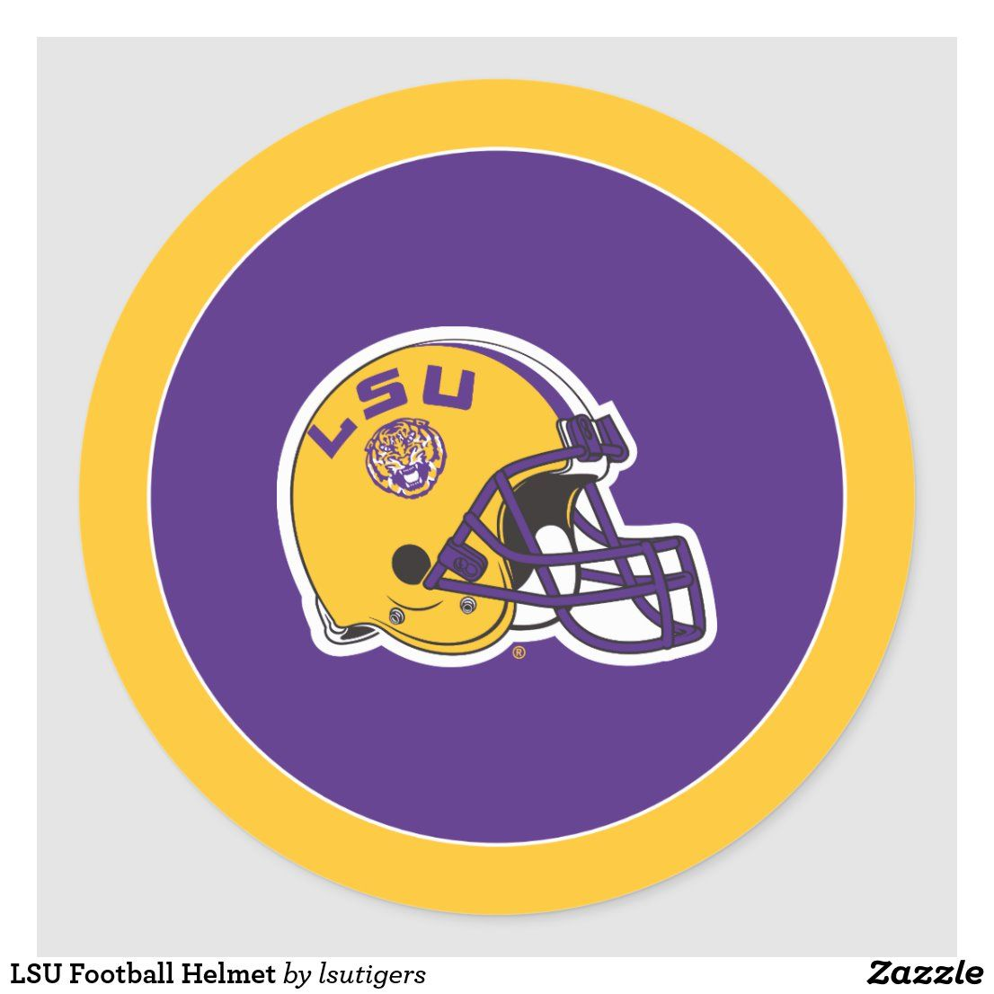 Lsu football helmet classic round sticker in