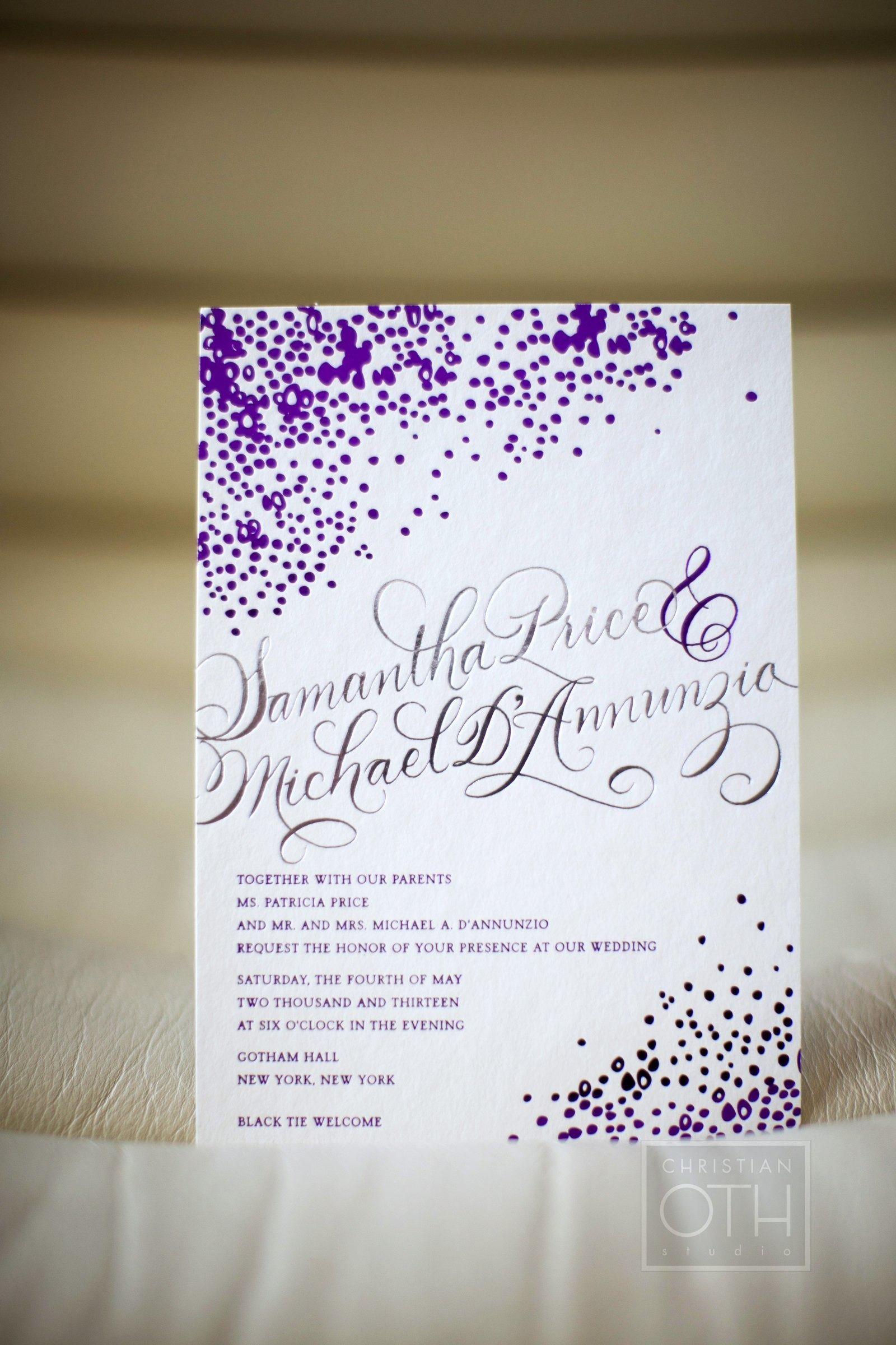Traditional NYC Wedding at Gotham Hall | Pinterest | Purple wedding ...