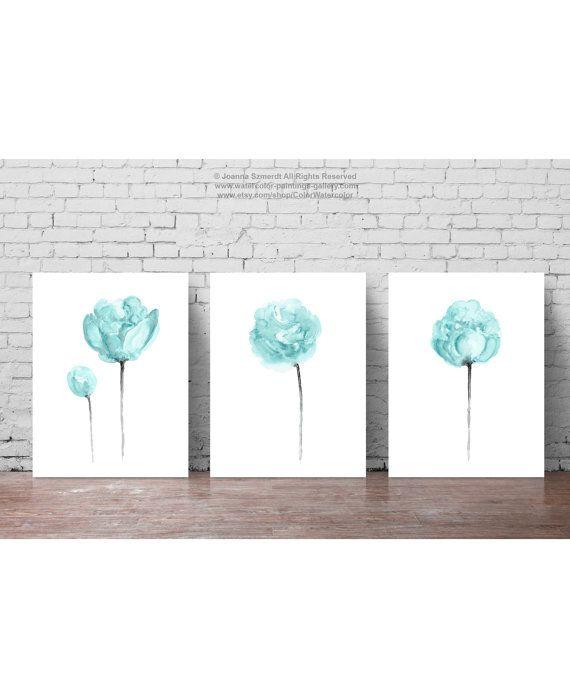 Pfingstrosen Clipart Türkis Blume set drei Pfingstrose Blumen - wohnzimmer bilder abstrakt