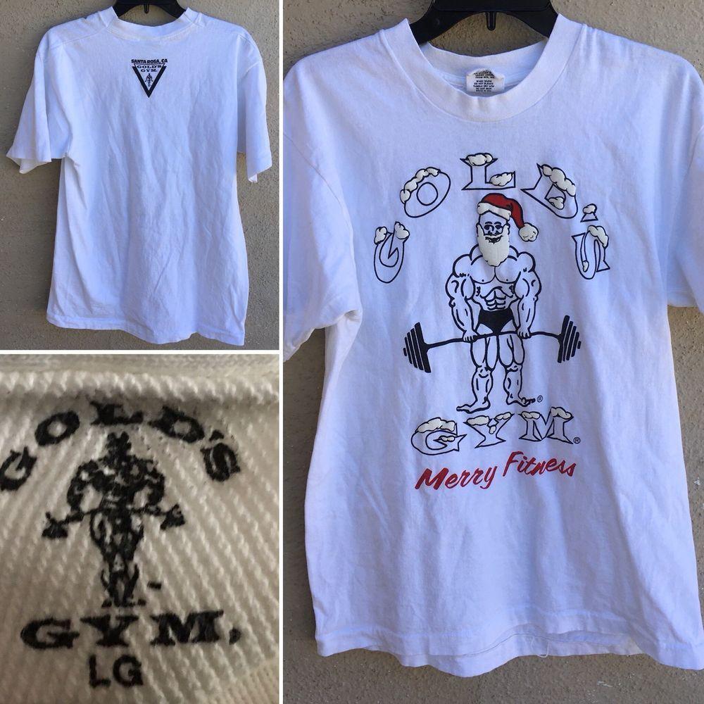 Vintage Gold S Gym Merry Fitness T Shirt Santa Rosa Ca Lg Made In Usa Santa Ebay Vintage Clothing Men Workout Tshirts T Shirts For Women