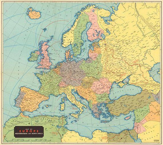 1942 Old Europe map printable digital download.Vintage