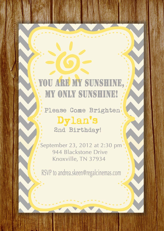 You Are My Sunshine Chevron Printable Invitation Gray And Yellow 1850 Via Etsy