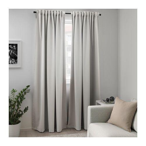 MAJGULL Block-out curtains, 1 pair Light grey IKEA Room darkening