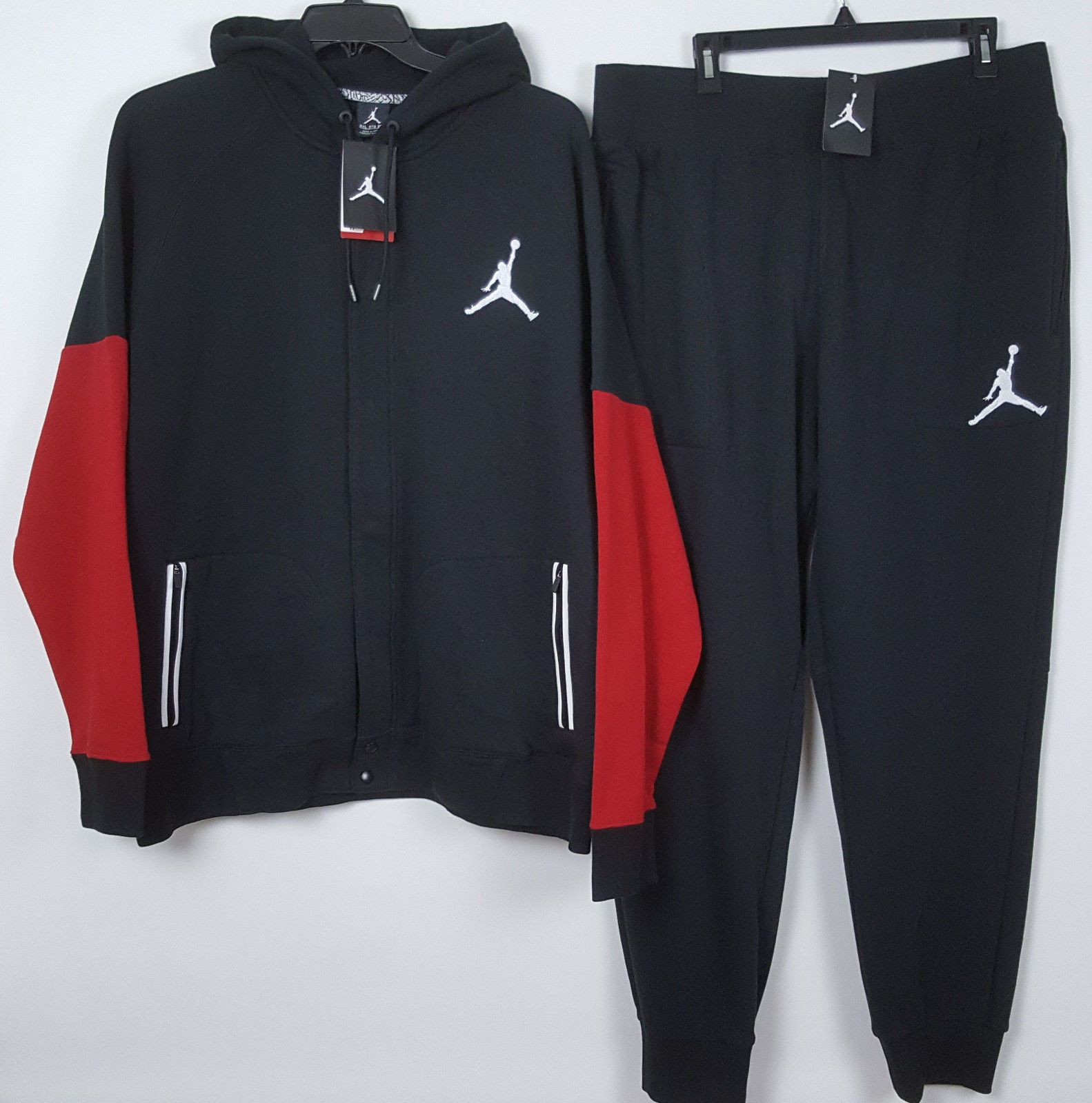 f082e11532d02f NIKE AIR JORDAN VARSITY SWEATSUIT HOODIE PANTS BLACK RED RARE NWT (SIZE 3XL)