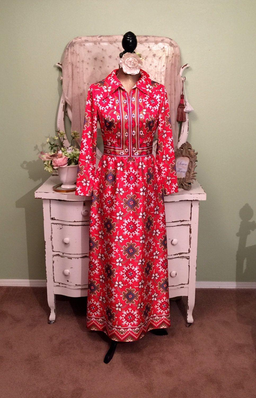 70s Vintage Print Dress, Long Bohemian Gown, Red Boho Maxi, MS/M ...